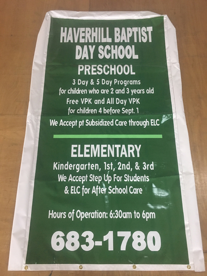 Signcovers, Sign Bags, Haverly Baptist Day School, Preschool, Elementary
