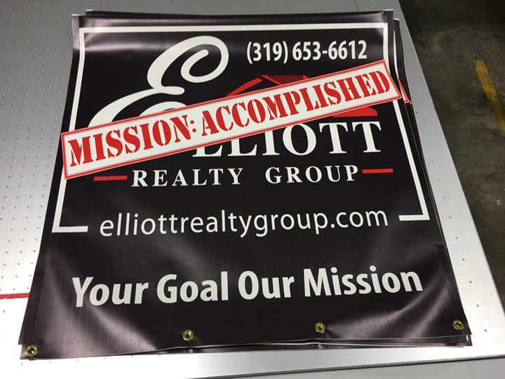 Signcovers, Sign Bags, Elliot Realty Group, Mission Accomplished