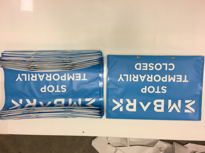 Signcovers, Sign bags, EMBARK, Stop temporarily closed