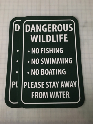 Signcovers, sign bags, Dangerous wildlife, no fishing, no swimming, no boating, please stay away from water