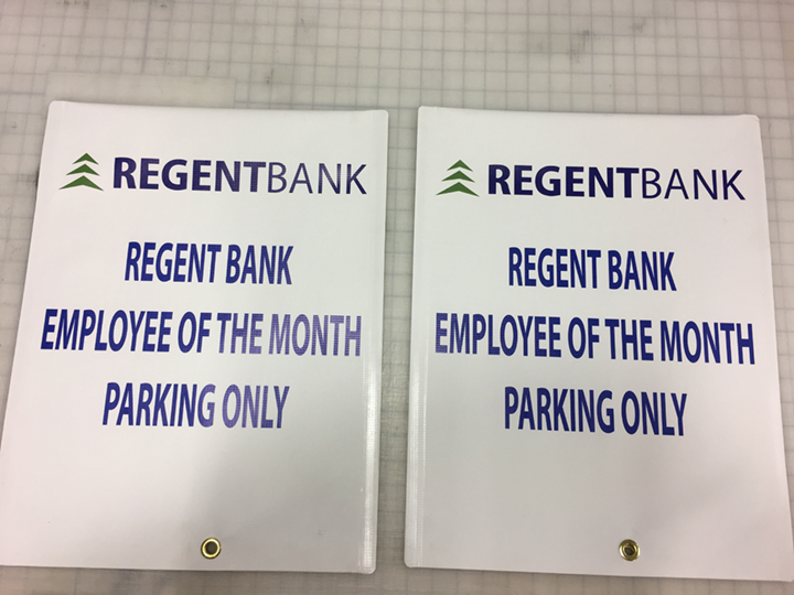 Signcovers, Regent Bank, Employee of the month parking only