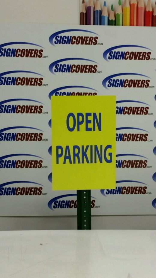 Slide Covers, Open Parking, Sign
