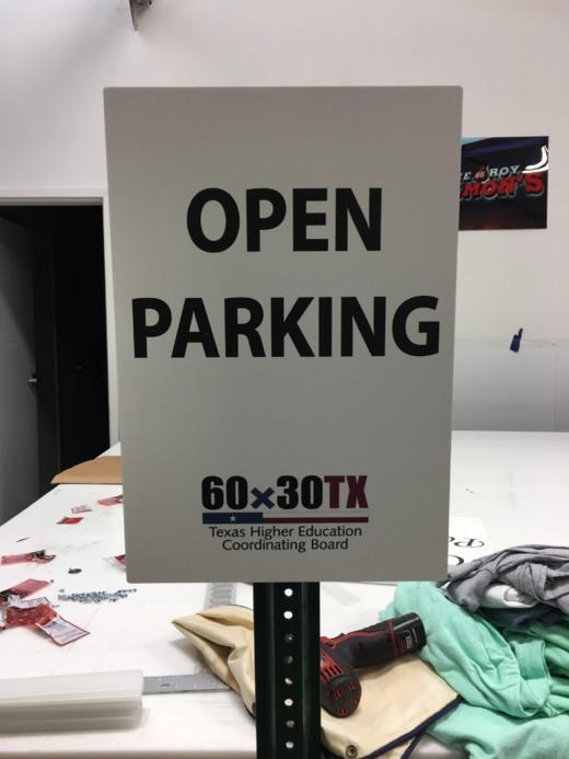 open parking sign slide cover